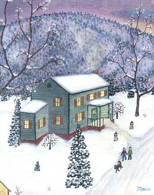 Dogs Painting - New Winter Five by Linda Mears