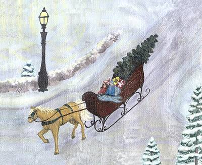 Sleigh Ride Painting - New Winter Two by Linda Mears
