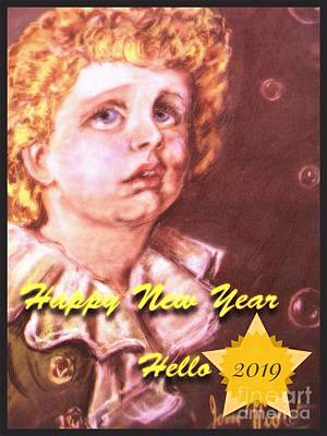Pastel - New Year Bubbles Portrait  by Joan-Violet Stretch