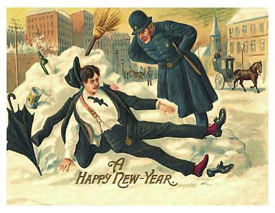 Policeman Wall Art - Painting - New Year Hangover by Long Shot