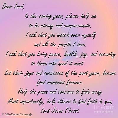 Photograph - New Year Prayer by Donna Cavanaugh