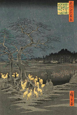 Oriental Painting - New Year's Eve Foxfires At The Changing Tree, Oji by Utagawa Hiroshige