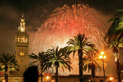 Photograph - New Years Fireworks Finale San Francisco by Bonnie Follett