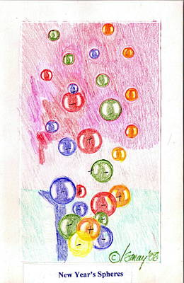 Drawing - New Year's Spheres by Rod Ismay