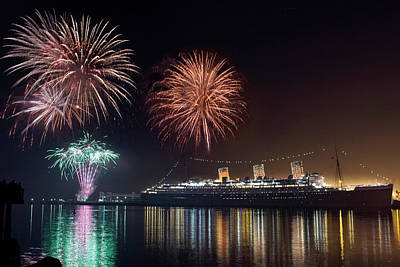 Photograph - New Years With The Queen Mary by Denise Dube