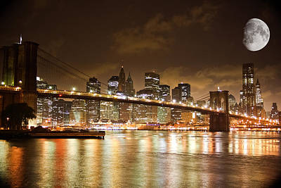 Amador Photograph - New York - Night Moon Brooklyn Bridge by Amador Esquiu Marques
