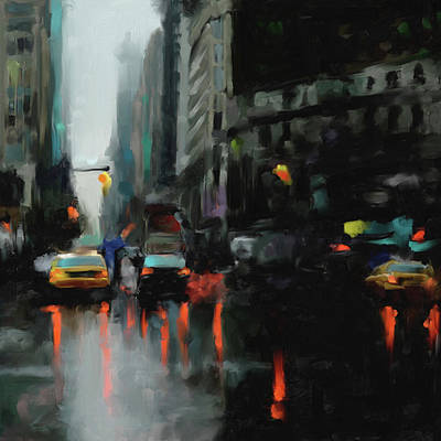 Times Square Painting - New York 1 560 3 by Mawra Tahreem