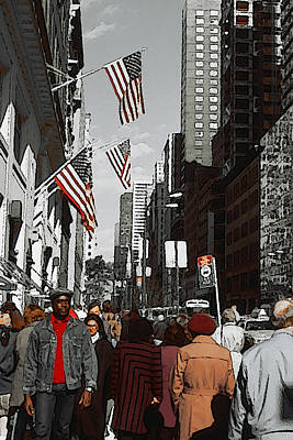 Drawing - New York 5th Avenue by Art America Gallery Peter Potter