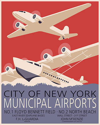 Progress Digital Art - New York Airports by Finlay McNevin