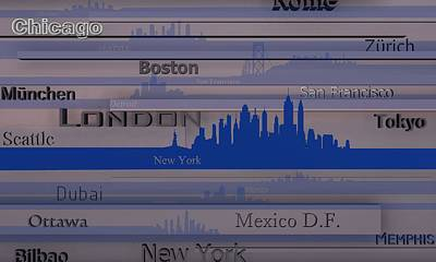 Text Digital Art - New York by Alberto RuiZ