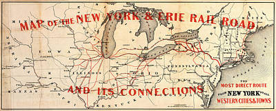 Photograph - New York And Erie Railroad Map 1855 by Daniel Hagerman