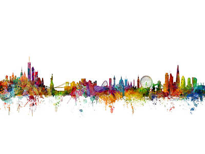Watercolour Digital Art - New York And London Skyline Mashup by Michael Tompsett