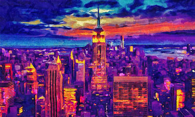 Painting - New York Art - Empire State Building Cityscape Painting by Wall Art Prints