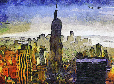 Digital Art - New York At Dusk Van Gogh Style by Georgiana Romanovna