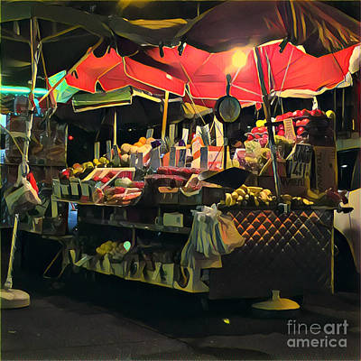Photograph - New York At Night - Umbrella Market by Miriam Danar