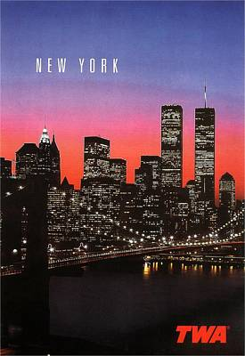 New York At Night - Vintage Poster Art Print