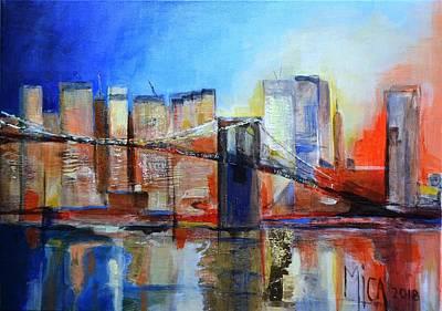 Brooklyn Bridge Mixed Media - New York At Sunset by Mica Leiner