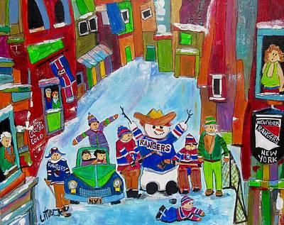 Litvack Painting - New York Back Lane Hockey Practice by Michael Litvack