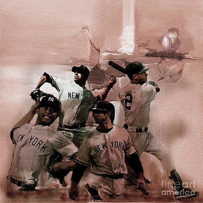 Baseball Players Painting - New York Baseball  by Gull G