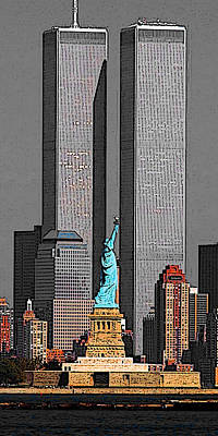 Drawing - New York 911 Memory - Twin Towers And Statue Of Liberty by Art America Gallery Peter Potter