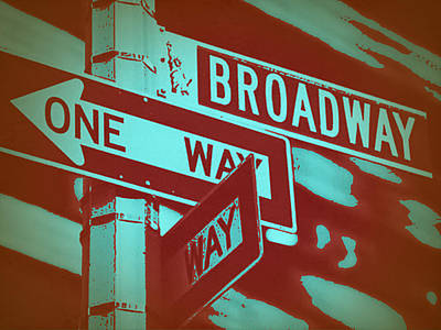 Broadway Digital Art - New York Broadway Sign by Naxart Studio