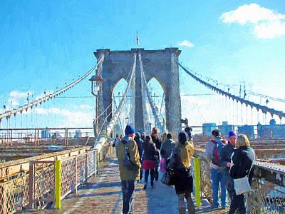 Digital Art - New York Brooklyn Bridge Tourrists  by Yury Malkov