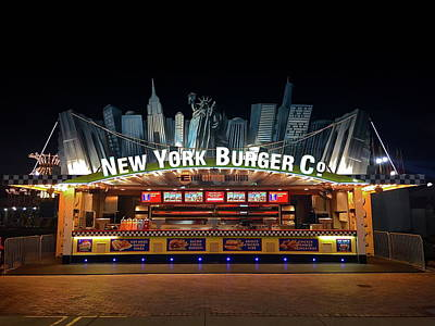 Statue Of Liberty At Night Photograph - New York Burger by Denise Mazzocco