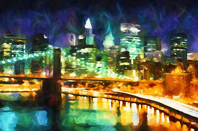 World Of Design Mixed Media - New York By Night Abstract Realism by Georgiana Romanovna