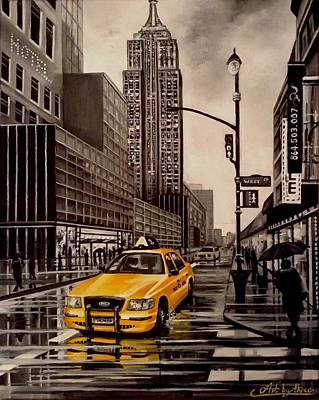 Painting - New York Cab Ride by Art By Three Sarah Rebekah Rachel White