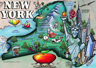 New York Cartoon Map Art Print by Kevin Middleton