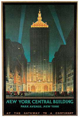 New York Central Building Art Print by Chesley Bonestell