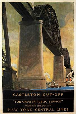 Cities Mixed Media - New York Central Lines - Castleton cut-off - Retro travel Poster - Vintage Poster by Studio Grafiikka