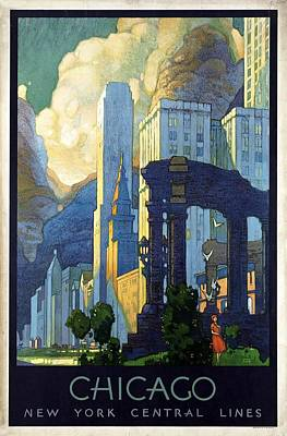 Cities Mixed Media - New York Central Lines, Chicago - Retro travel Poster - Vintage Poster by Studio Grafiikka