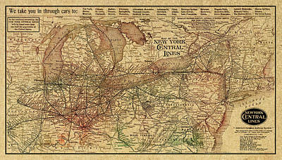 Rail Road Mixed Media - New York Central Lines Railway Map Vintage Circa 1918 On Worn Distressed Parchment by Design Turnpike