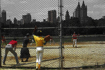 Drawing - New York Central Park Baseball by Peter Potter