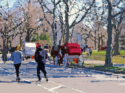 Digital Art - New York Central Park Run 2 by Yury Malkov