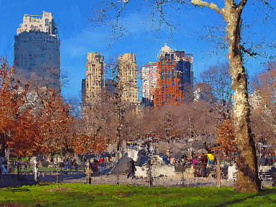 Digital Art - New York Central Park Views by Yury Malkov