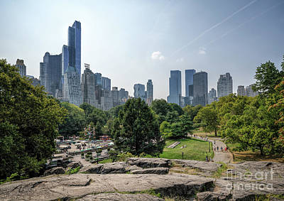 New York Central Park With Skyline Art Print