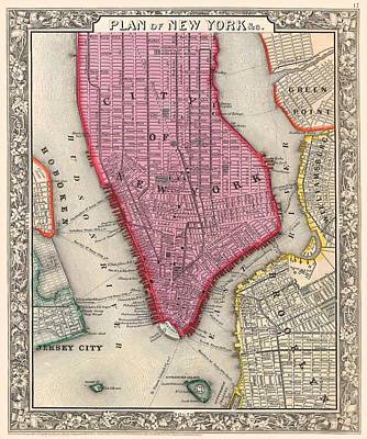 Greenpoint Drawing - New York City 1860 Map by Movie Poster Prints