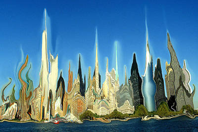 Painting - New York City Skyline 2100 - Modern Artwork by Peter Potter