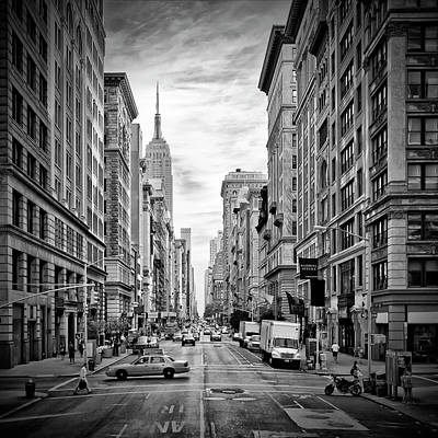 Traffic Photograph - New York City 5th Avenue - Monochrome by Melanie Viola