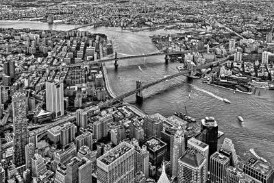 Photograph - New York City Aerial Bridges Bw by Susan Candelario