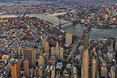 Photograph - New York City Aerial Bridges  by Susan Candelario