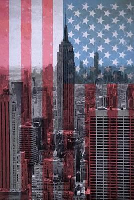 City Scenes Mixed Media - New York City American Pride by Dan Sproul