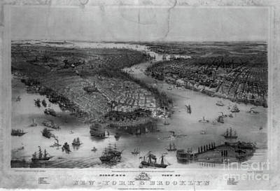 Central Park Drawing - New York City And Brooklyn Showing Battery Park And Governors Island  by Baltzgar