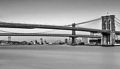 Brooklyn Bridge Photograph - New York City Bridges Bmw Bw by Susan Candelario