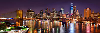 Skylines Photograph - New York City Brooklyn Bridge And Lower Manhattan At Night Nyc by Jon Holiday