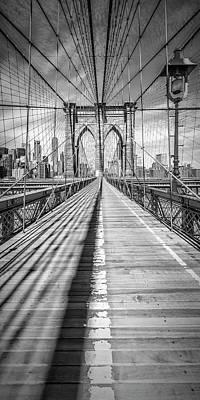 Photograph - New York City Brooklyn Bridge - Panorama by Melanie Viola
