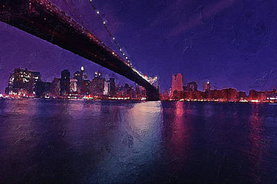 Digital Art - New York City Brooklyn Bridge by PixBreak Art
