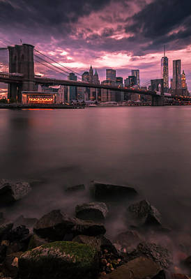Photograph - New York City Brooklyn Bridge Sunset by Ranjay Mitra